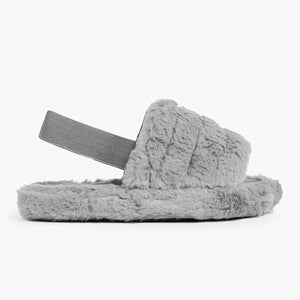 MINI SNUGGLE GREY FAUX FUR SLIPPERS