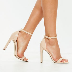 AALIYAH NUDE BARELY THERE STRAPPY HEELS