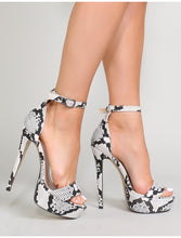 POLLY BLACK SNAKE PRINT HIGH PLATFORM HEELS