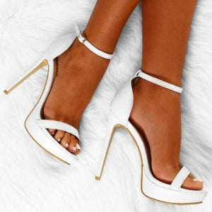 POLLY STRAPPY WHITE PLATFORM HEELS