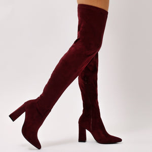 TAMSIN BURGUNDY OVER THE KNEE SUEDE BOOTS