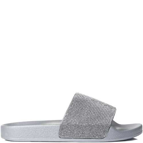 ABBEY SILVER DIAMANTE SLIDES