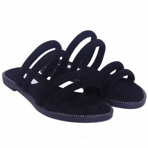 SOPHIE BLACK STRAPPY SLIDERS