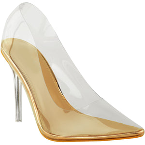 KYLIE PERSPEX ROSE GOLD CLEAR COURT HEELS