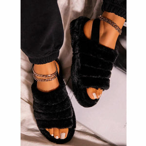 SNUGGLE BLACK FAUX FUR SLIPPERS