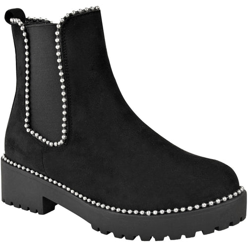URSULA BLACK AND SILVER SUEDE STUDDED CHELSEA BOOTS