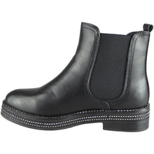 DAWN DIAMANTÉ BLACK BIKER BOOTS