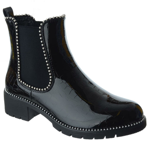 URSULA BLACK AND SILVER CROC PATENT STUDDED CHELSEA BOOTS