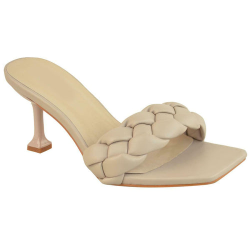 BEATRICE NUDE QUILTED HEELED MULES