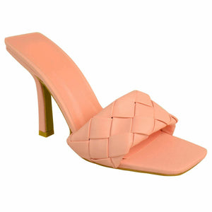 BRIDGET PINK QUILTED HEELED MULES