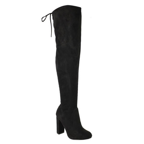 LAURA BLACK OVER THE KNEE SUEDE BOOTS