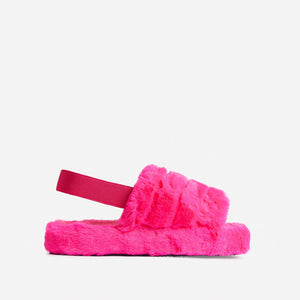 SNUGGLE FUCHSIA FAUX FUR SLIPPERS