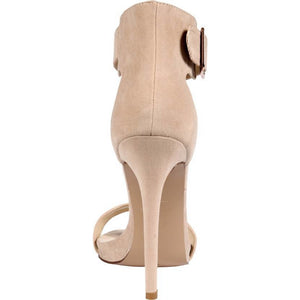 JESSIKA BUCKLE STRAP NUDE HEELS SUEDE