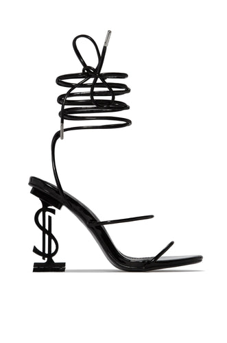 AMBER TURNER 'THE BU$INE$$' DOLLAR SIGN BLACK STRAPPY HEELS