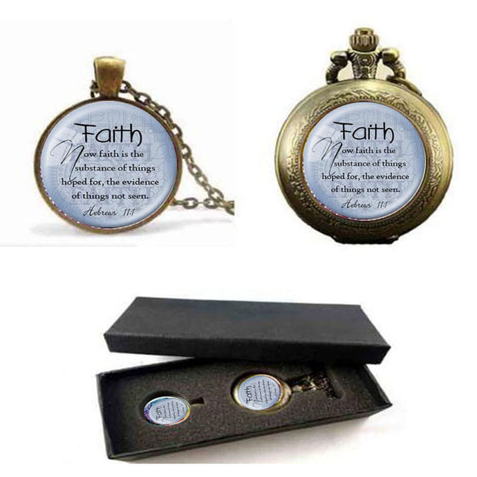 2018 HEBREWS 11:1 Pendant & Pocket Watch With Free Box