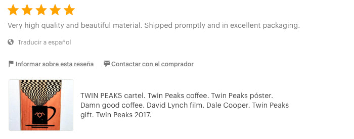 Twin Peaks. coffee. mug. poster. gift. Damn good coffee. David Lynch. review artesanal woodprint Etsy