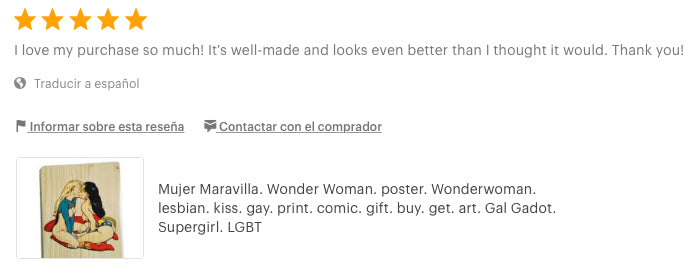Wonder Woman. poster. lesbian. gift. kiss. LGBT. review artesanalwoodprint.com