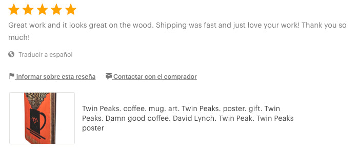 Twin Peaks. coffee. mug. art. poster. Damn good coffee. David Lynch. review upcycle art artesanal woodprint Etsy
