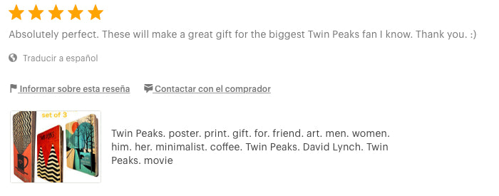 Twin Peaks. poster. print. gift. minimalist. coffee. David Lynch. artesanalwoodprint.com