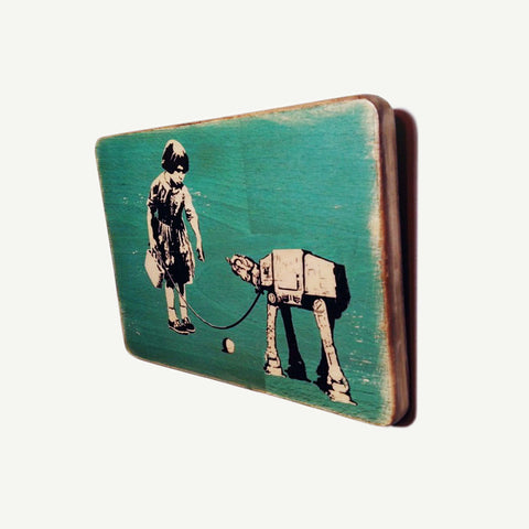 Banksy - Star Wars - Imperial vehicle - Upcycle Art wood print handmade - https://artesanalwoodprint.com