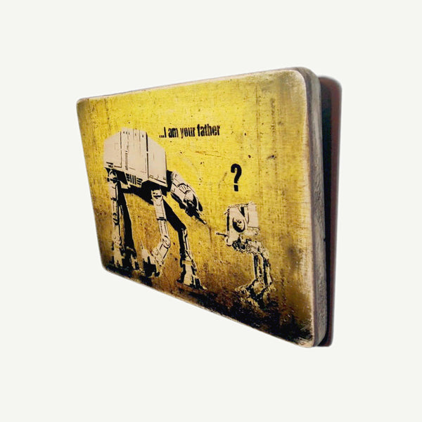 Banksy - Star Wars - I am your father - Upcycle Art wood print handmade - https://artesanalwoodprint.com