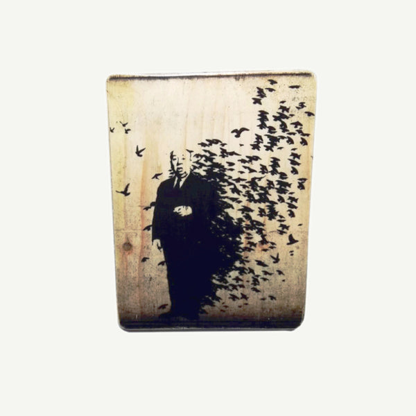 Alfred Hitchcock - birds - Upcycle Art wood print handmade - https://artesanalwoodprint.com