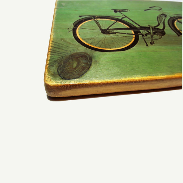 vintage bicycle - artisanal wood print