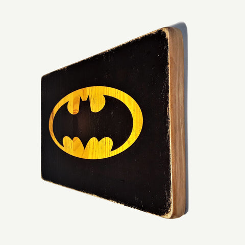 Batman logo - artisanal wood print