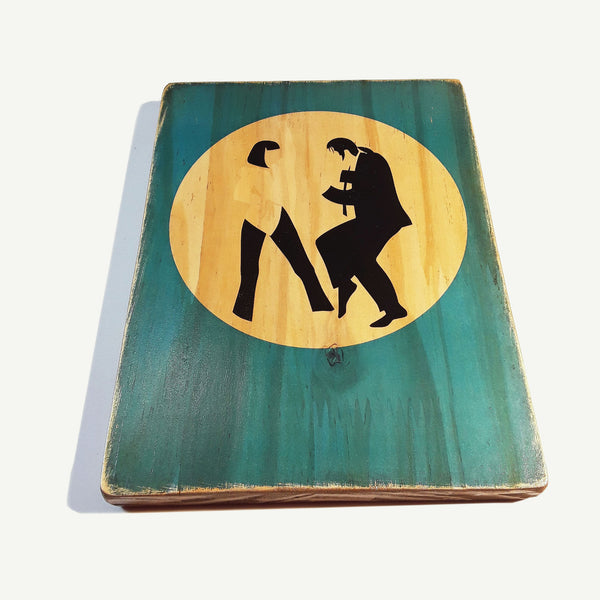 Pulp Fiction dance - Tarantino  - Recycling wood Art - artisanal print - www.artesanalwoodprint.com