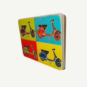 Vespa - Collection - Artisanal Pop Art woodprint - www.artesanalwoodprint.com