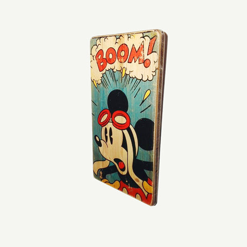 Mickey Mouse - Boom - Recycle Art - artisanal wood print - https://artesanalwoodprint.com