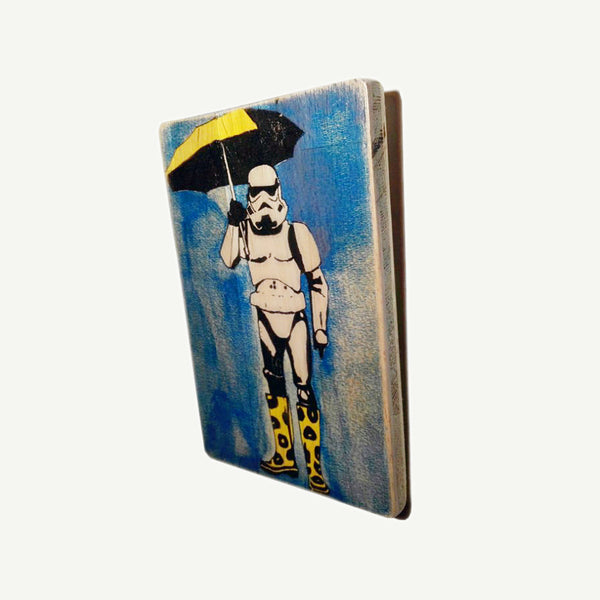 STAR WARS - Umbrella  - Banksy  - Recycling wood Art - artisanal print - www.artesanalwoodprint.com