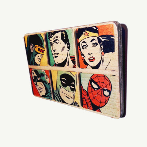 Justice League - Faces - Superman - Batman - Wonder Woman - Spiderman - Recycle Art - artisanal wood print - https://artesanalwoodprint.com