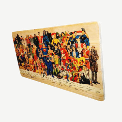 Justice League - Group picture - Superman - Batman - Wonder Woman - Recycle Art - artisanal wood print - https://artesanalwoodprint.com