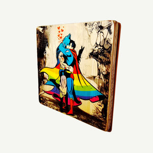 Batman and Superman - Gay kiss - Rainbow - Upcycle Art wood print handmade - https://artesanalwoodprint.com