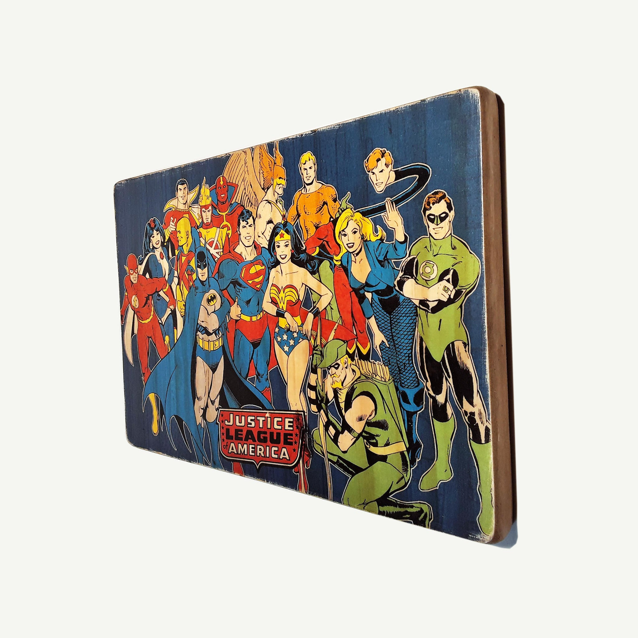 Justice League- Recycle Art - artisanal wood print - https://artesanalwoodprint.com
