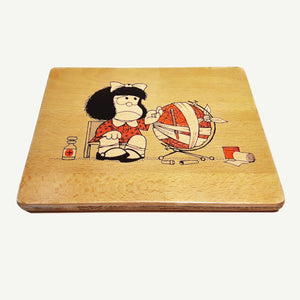 Mafalda - sick - Artisanal Pop Art woodprint - www.artesanalwoodprint.com