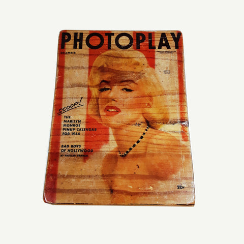 MARILYN MONROE - Photoplay- Artisanal Pop Art woodprint - www.artesanalwoodprint.com