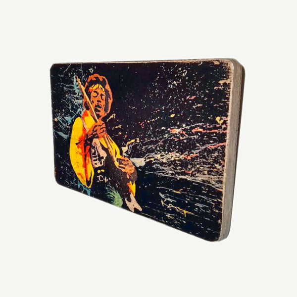 Jimi Hendrix - On stage- Recycle Art - artisanal wood print - https://artesanalwoodprint.com