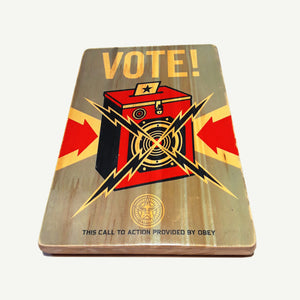 OBEY -Vote - Recycle Art - artisanal wood print - https://artesanalwoodprint.com