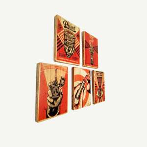 Obey - Set of 5 beautiful prints - Recycling wood Art - artisanal print - www.artesanalwoodprint.com