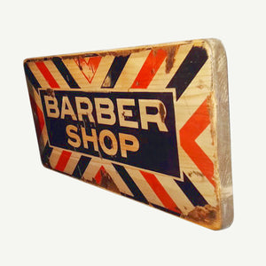 Barber shop - Vintage sign - Upcycle Art wood print handmade - https://artesanalwoodprint.com