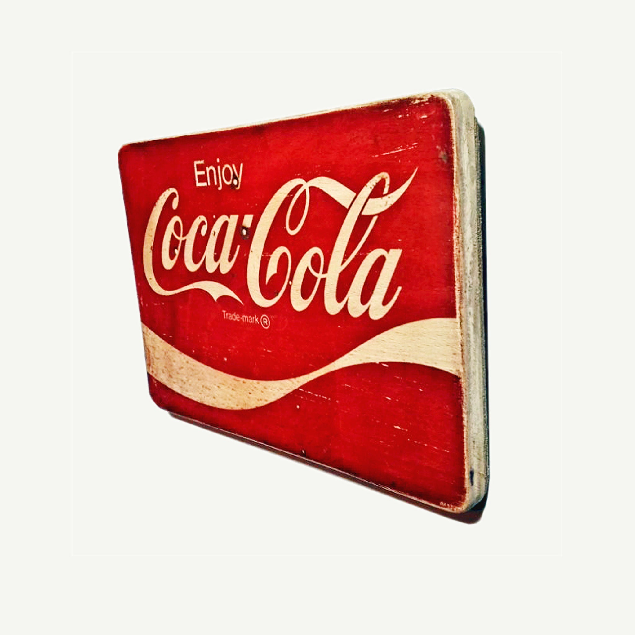 COCA COLA - Enjoy - Vintage ad - Recycle Art - artisanal wood print - https://artesanalwoodprint.com