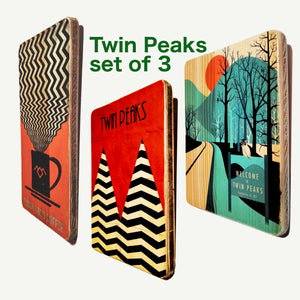 Twin Peaks - Set of 3 Upcycle Art prints - Artisanal Pop Art woodprint - www.artesanalwoodprint.com