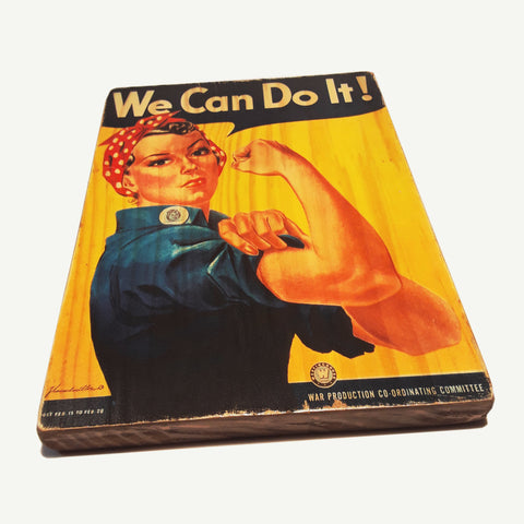 We can do it - Reclaimed wood art - artisanal handmade print - www.artesanalwoodprint.com