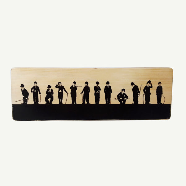 Charlie Chaplin - Recycle Art - artisanal wood print - https://artesanalwoodprint.com