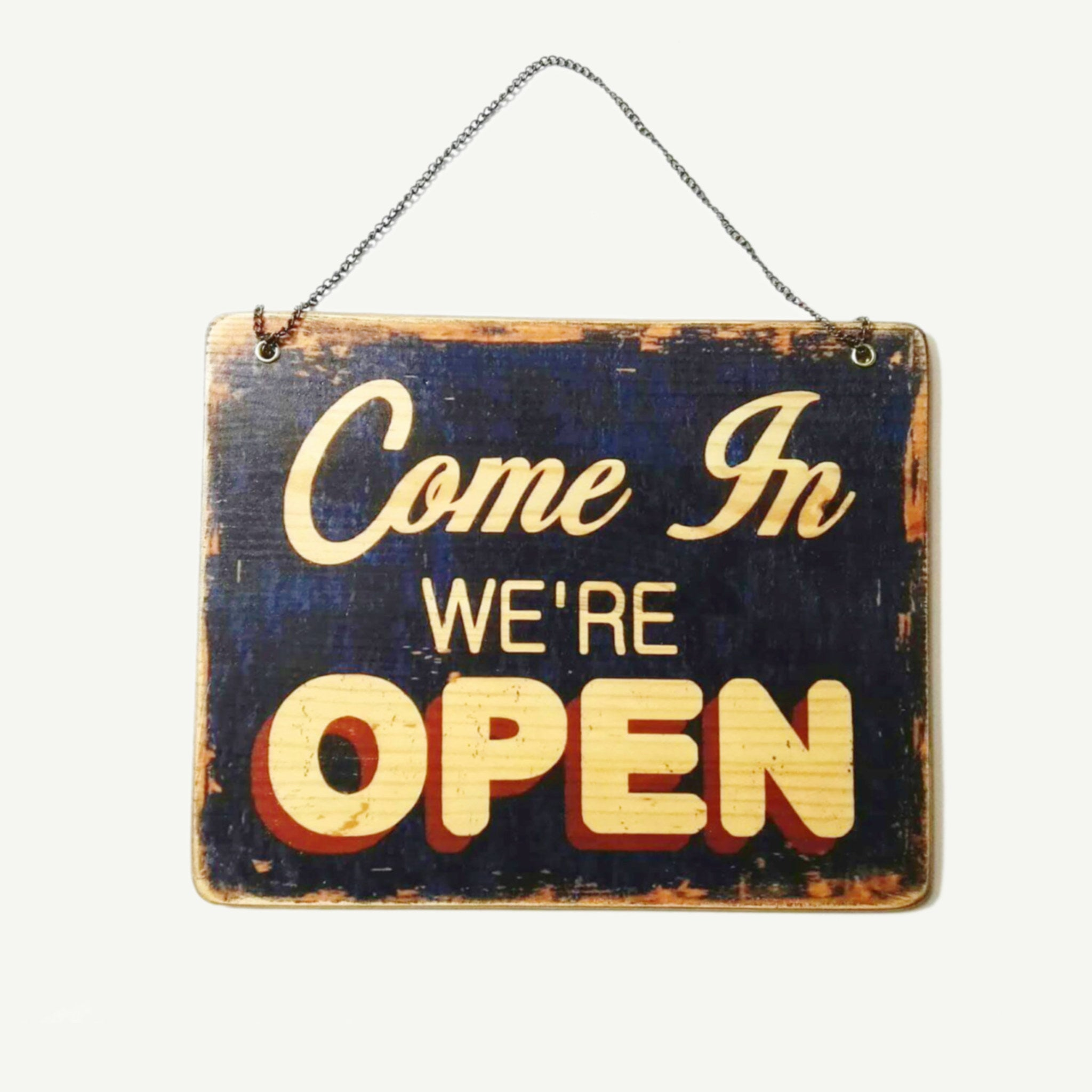 We are open - Closed - Shop door sign - Artisanal Pop Art woodprint - www.artesanalwoodprint.com