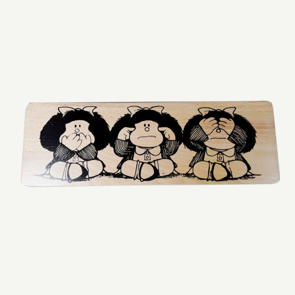 Mafalda - Recycle Art - artisanal wood print - https://artesanalwoodprint.com