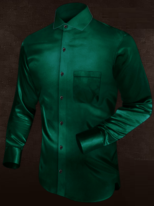 Stunning Bottle Green Silk Shirt