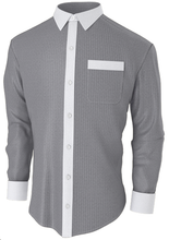Dark Grey Herringbone Designer Business Shirt